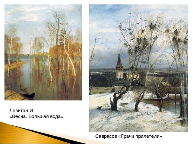 Саврасов «Грачи прилетели» Левитан И. «Весна. Большая вода»