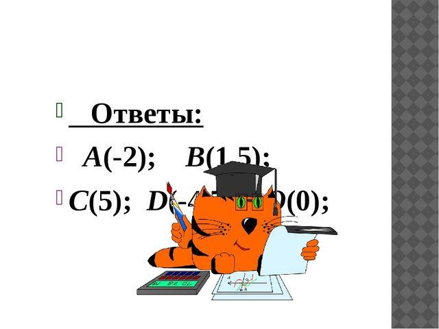 Ответы: А(-2); В(1,5); С(5); D(-4,5); О(0);