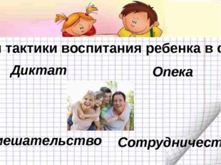 Стили тактики воспитания ребенка в семье Диктат Опека Невмешательство Сотруд