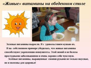 «Живые» витамины на обеденном столе Зеленые витамины выросли. Я с удовольстви