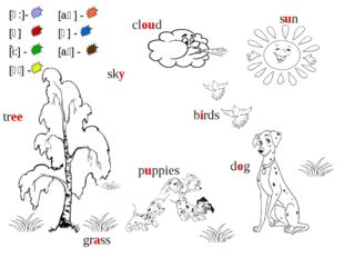 sun grass tree dog puppies sky cloud birds [ɑ:]- [ʌ] - [i:] - [aɪ] - [aʊ] - [