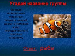 Угадай название группы Водные позвоночные животные, покрыты чешуей, дышат с п