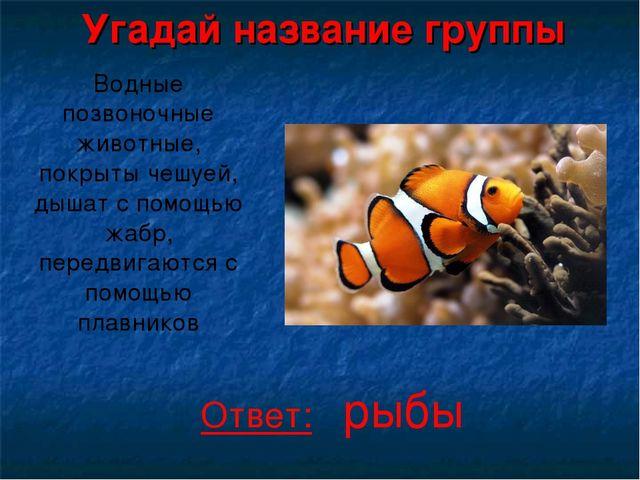 Угадай название группы Водные позвоночные животные, покрыты чешуей, дышат с п...