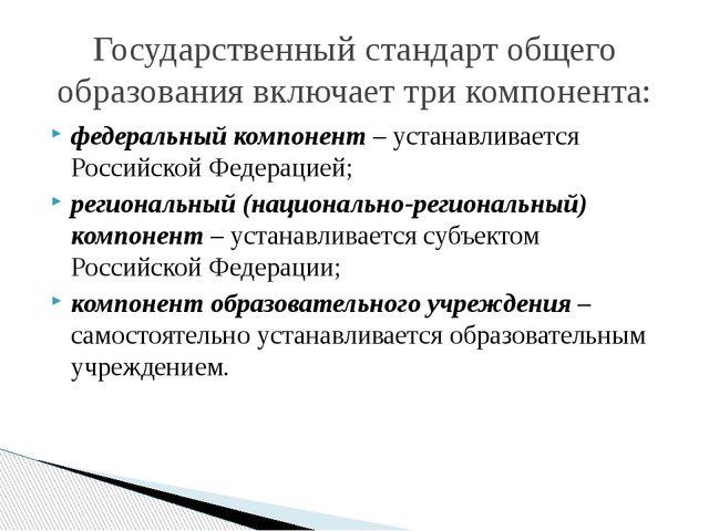 федеральный компонент– устанавливается Российской Федерацией; региональный...