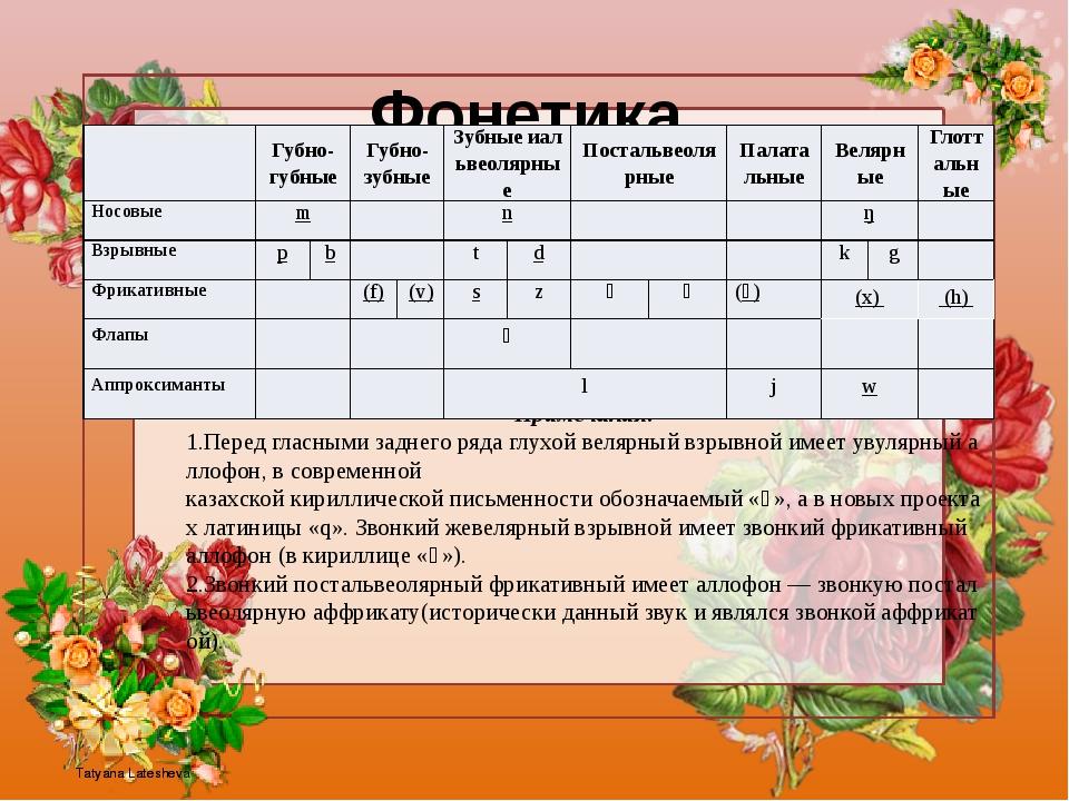 Фонетика Согласныефонемыказахскогоязыка Примечания: 1.Передгласнымизадне...