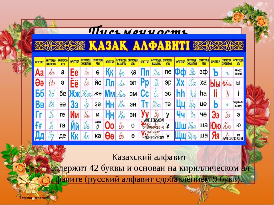 Письменность Казахскийалфавитсодержит42буквыиоснованнакириллическома...