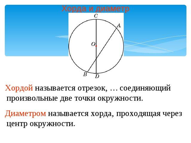Хорда и диаметр Хордой называется отрезок, … Диаметром называется хорда, соед...