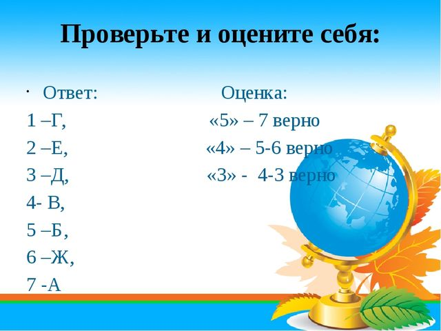 Проверьте и оцените себя: Ответ: Оценка: 1 –Г, «5» – 7 верно 2 –Е, «4» – 5-6...