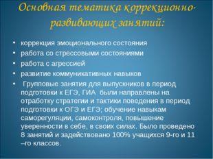 Основная тематика коррекционно-развивающих занятий: коррекция эмоционального