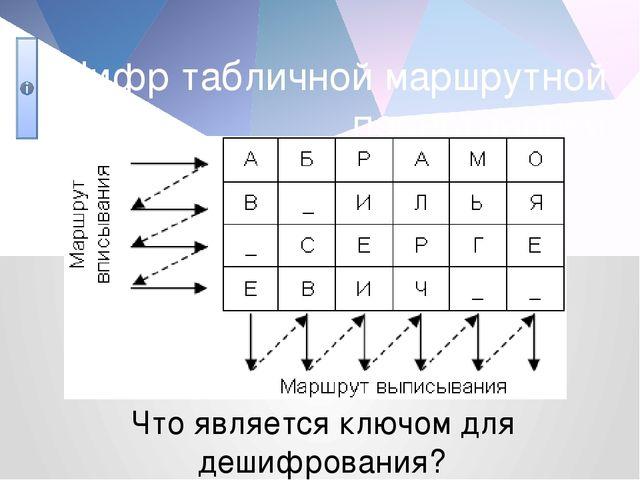 Шифр табличной маршрутной перестановки Что является ключом для дешифрования?