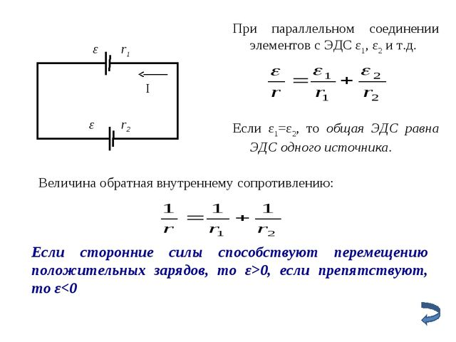 При параллельном соединении элементов с ЭДС ε1, ε2 и т.д. Если ε1=ε2, то обща...