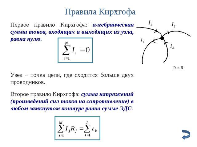 Правила Кирхгофа Первое правило Кирхгофа: алгебраическая сумма токов, входящи...