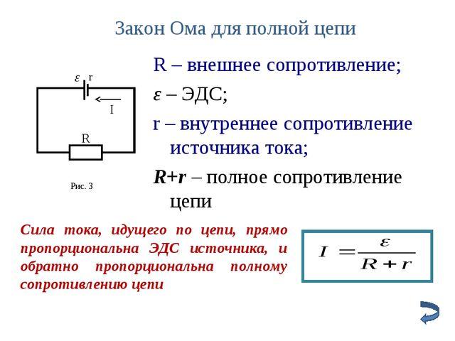 Закон Ома для полной цепи Cила тока, идущего по цепи, прямо пропорциональна Э...