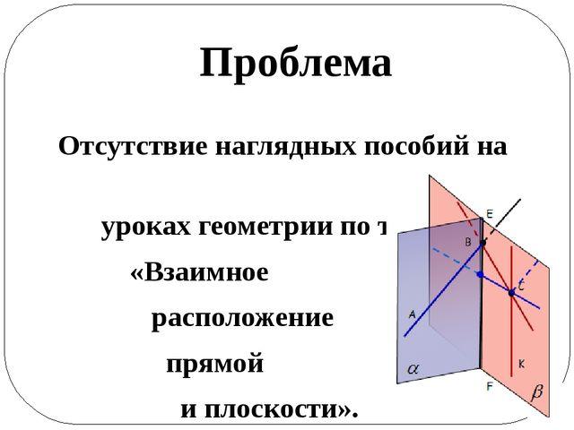 Проблема Отсутствие наглядных пособий на уроках геометрии по теме «Взаимное...