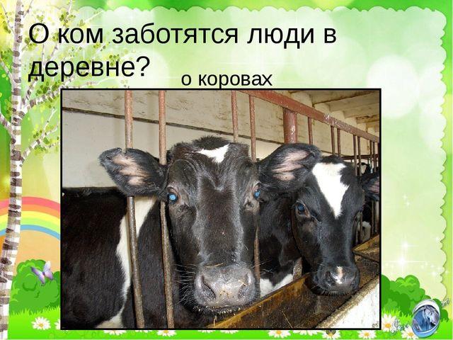 О ком заботятся люди в деревне? о коровах