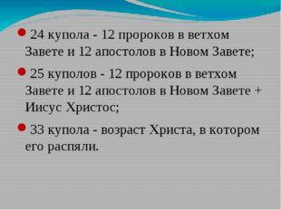 24 купола - 12 пророков в ветхом Завете и 12 апостолов в Новом Завете; 25 куп