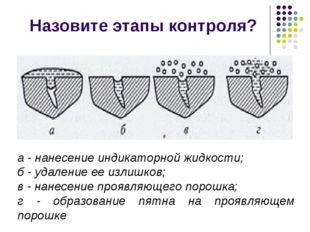 Назовите этапы контроля? а - нанесение индикаторной жидкости; б - удаление ее