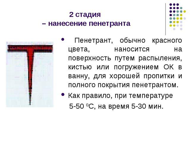 2 стадия – нанесение пенетранта Пенетрант, обычно красного цвета, наносится н...