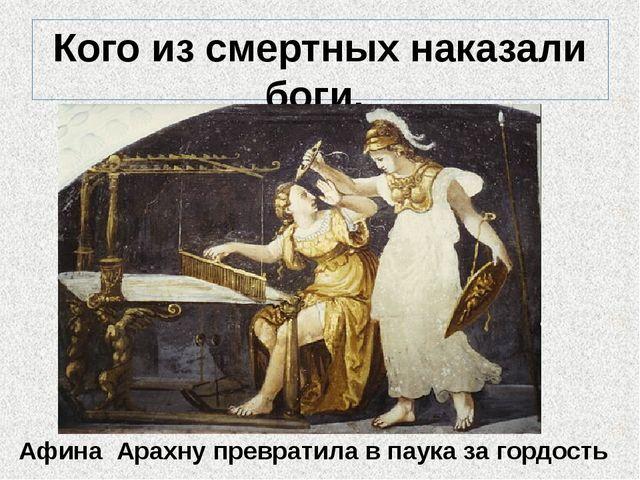 Кого из смертных наказали боги, за что и как? Афина Арахну превратила в паука...