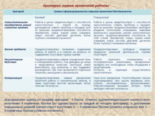 Критерии оценки проектной работы Максимальная оценка по каждому критерию - 2