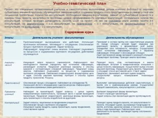 Учебно-тематический план Проект- это специально организованный учителем и сам