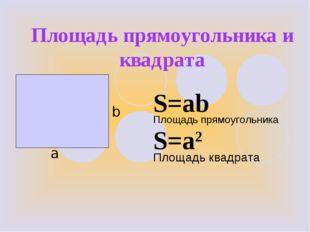 Площадь прямоугольника и квадрата b а S=ab S=a2 Площадь квадрата Площадь прям