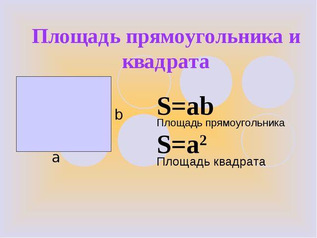 Площадь прямоугольника и квадрата b а S=ab S=a2 Площадь квадрата Площадь прям...