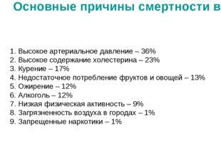 Основные причины смертности в России 1. Высокое артериальное давление – 36% 2
