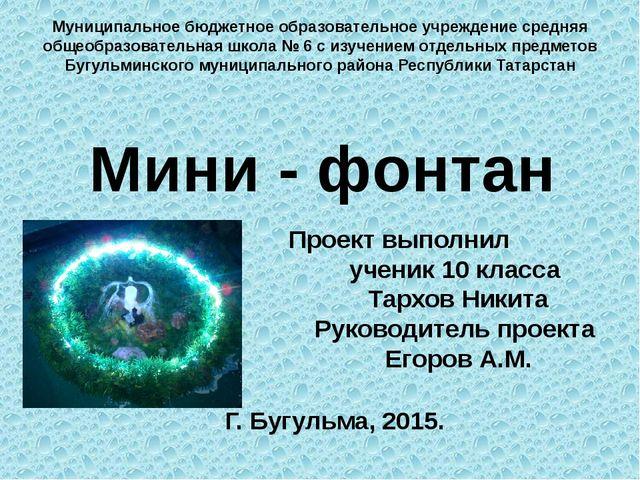 Проект выполнил ученик 10 класса Тархов Никита Руководитель проекта Егоров А....