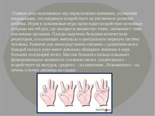 Главная цель пальчиковых игр переключение внимания, улучшения координации, ч