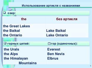 * Использование артикля с названиями theбез артикля the Great Lakes the Baik
