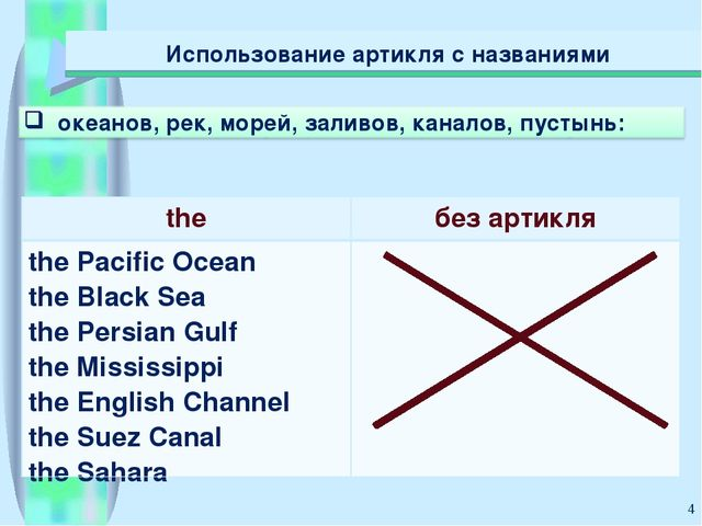 * Использование артикля с названиями theбез артикля the Pacific Ocean the Bl...