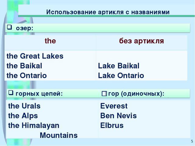 * Использование артикля с названиями theбез артикля the Great Lakes the Baik...