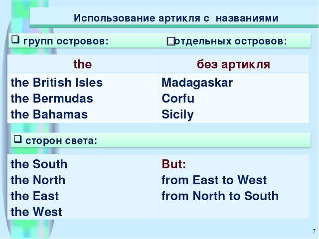 * Использование артикля с названиями theбез артикля the British Isles the Be...