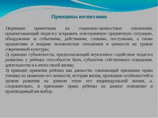 Принципы воспитания 1)принцип ориентации на социально-ценностные отношения, п