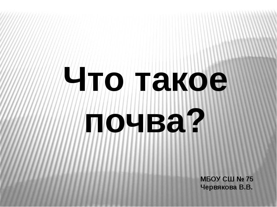 МБОУ СШ № 75 Червякова В.В. Что такое почва?