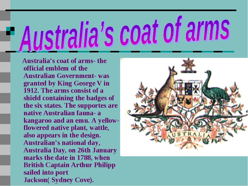 Australia's coat of arms- the official emblem of the Australian Government- w...