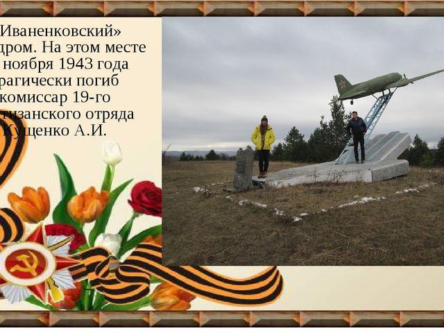 «Иваненковский» аэродром. На этом месте 18 ноября 1943 года трагически погиб...