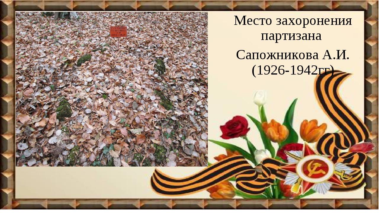 Место захоронения партизана Сапожникова А.И. (1926-1942гг)