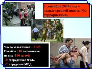 1 сентября 2004 года – захват средней школы №1 террористами. Число заложников