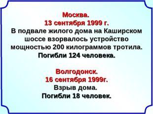 Москва. 13 сентября 1999 г. В подвале жилого дома на Каширском шоссе взорвало