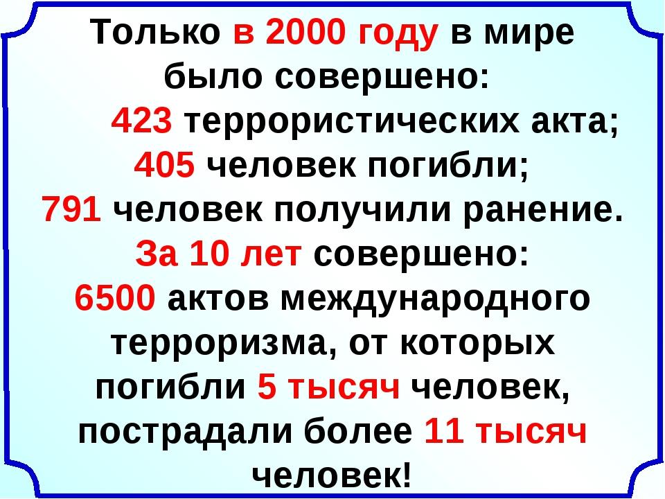 Только в 2000 году в мире было совершено: 423 террористических акта; 405 чел...