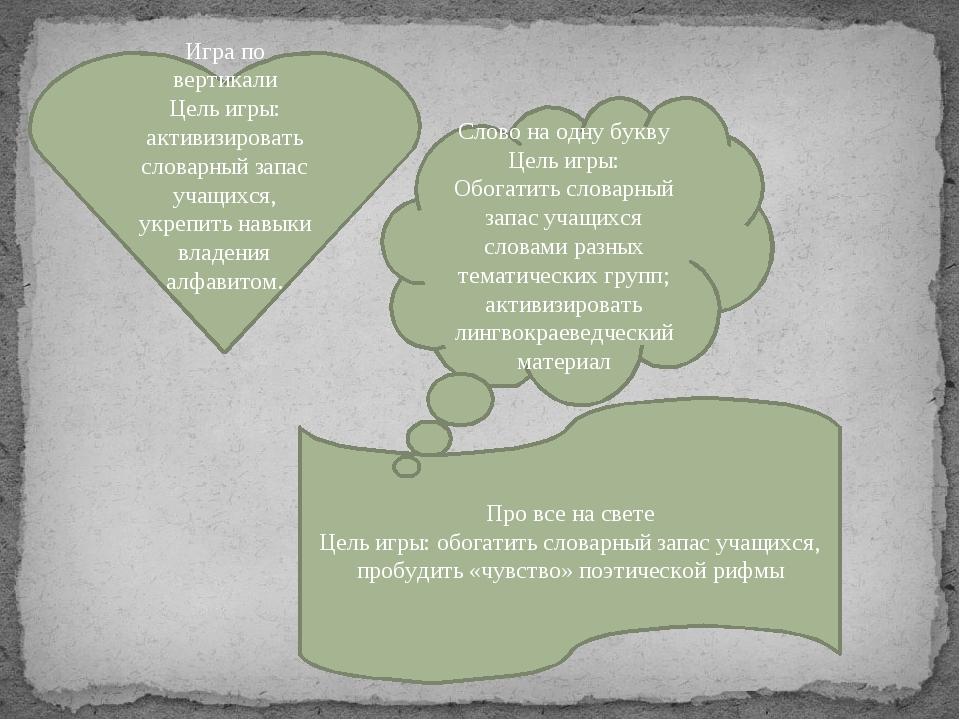 Игра по вертикали Цель игры: активизировать словарный запас учащихся, укрепит...