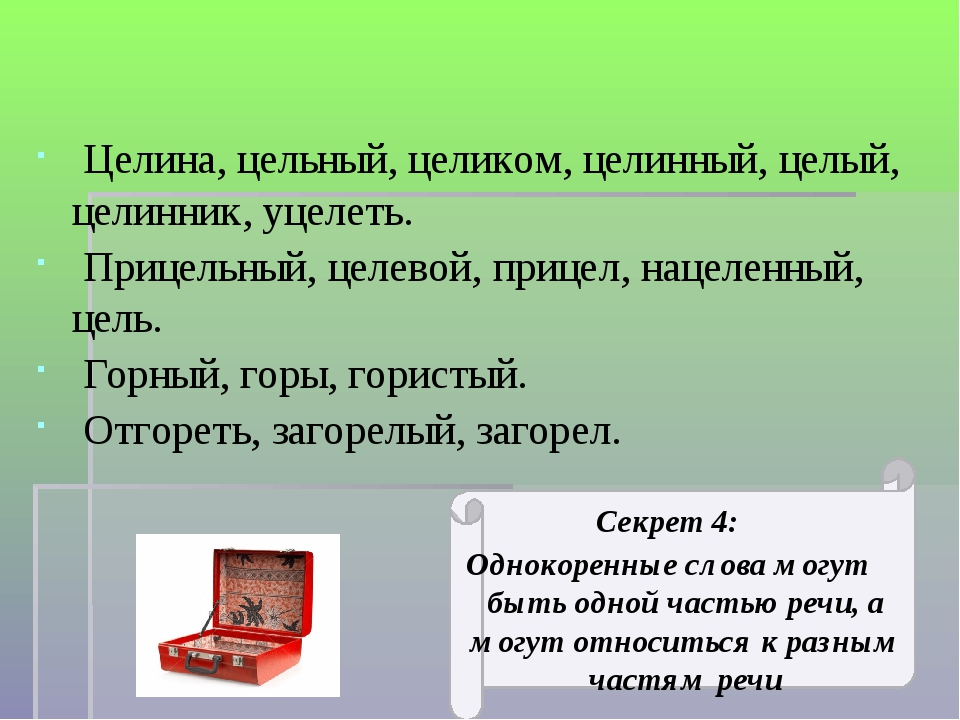 Секрет 4: Однокоренные слова могут быть одной частью речи, а могут относитьс...