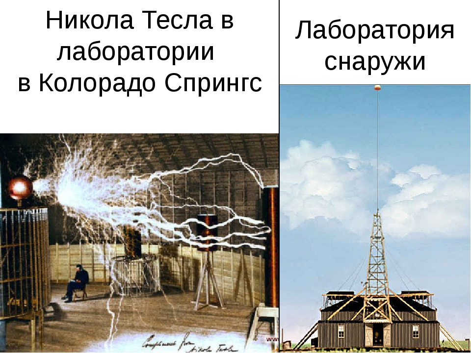 Никола Тесла в лаборатории в Колорадо Спрингс Лаборатория снаружи В мае 1899...