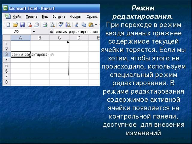 Режим редактирования. При переходе в режим ввода данных прежнее содержимое те...