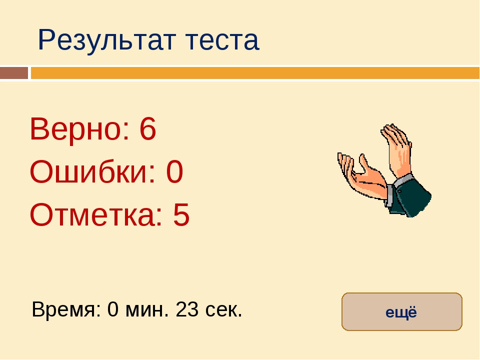 Результат теста Верно: 6 Ошибки: 0 Отметка: 5 Время: 0 мин. 23 сек. ещё испра...