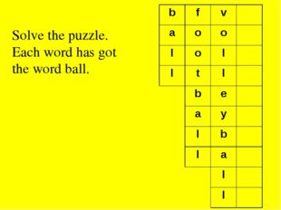Solve the puzzle. Each word has got the word ball. b f v a o o l o l l t l b