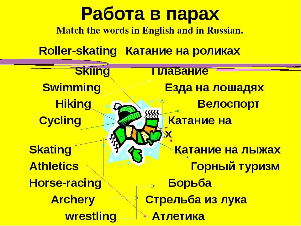 Работа в парах Match the words in English and in Russian. Roller-skating Ката...
