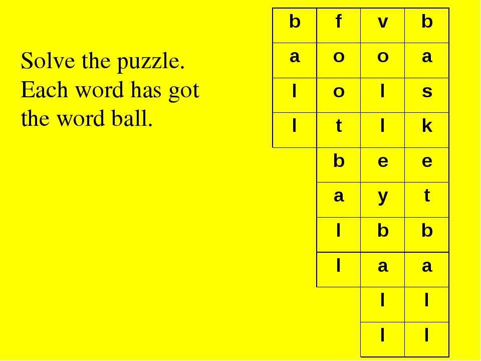 Solve the puzzle. Each word has got the word ball. b f v b a o o a l o l s l...